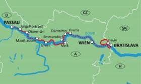 Karte - Donau mit MS Theodor Körner