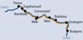 Donau met MS Normandie - kaart