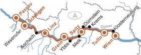 Passau-Wenen met MS Primadonna - Kaart